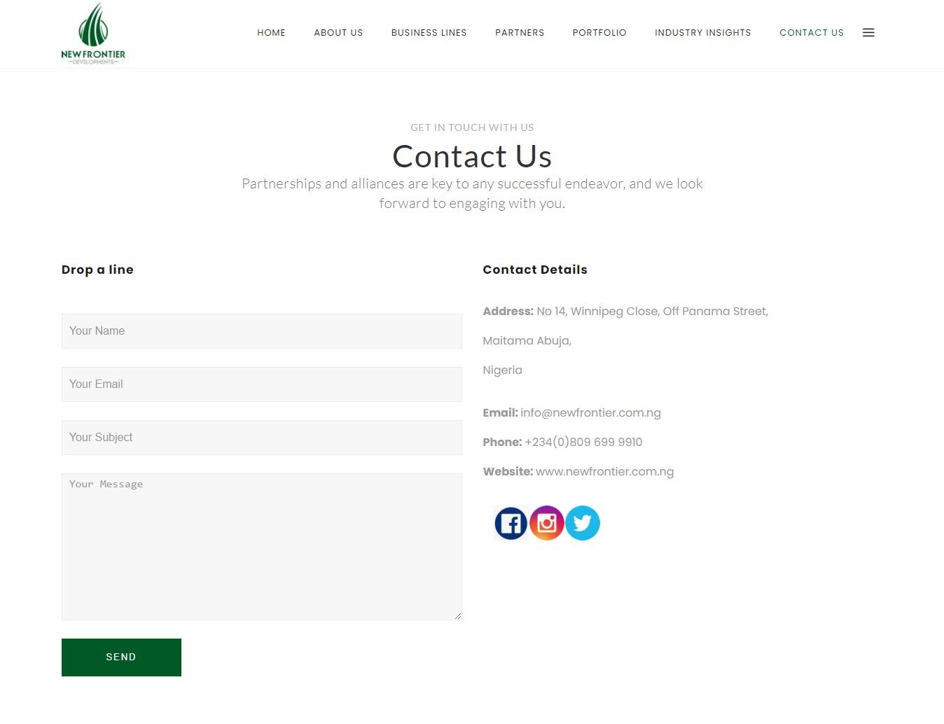New frontier ltd web designer