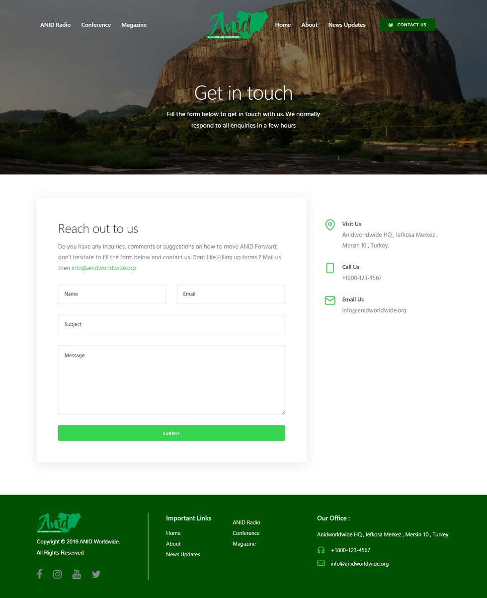 ANID website design project