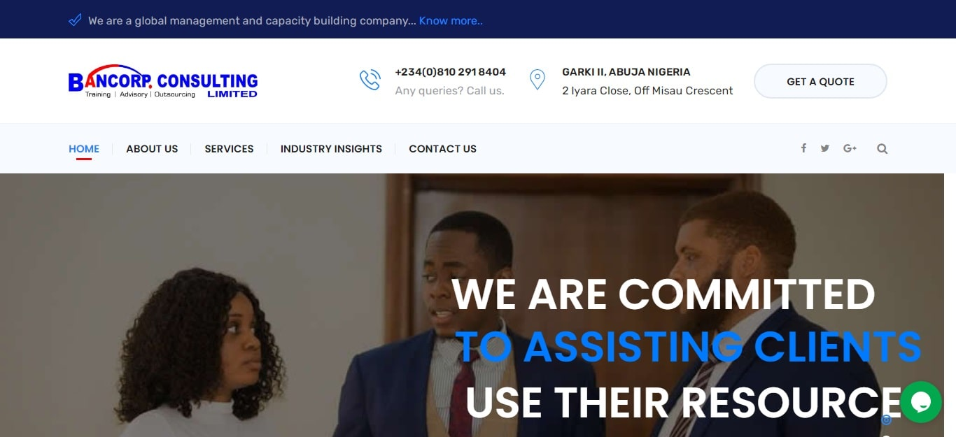 Bancorp Abuja web design