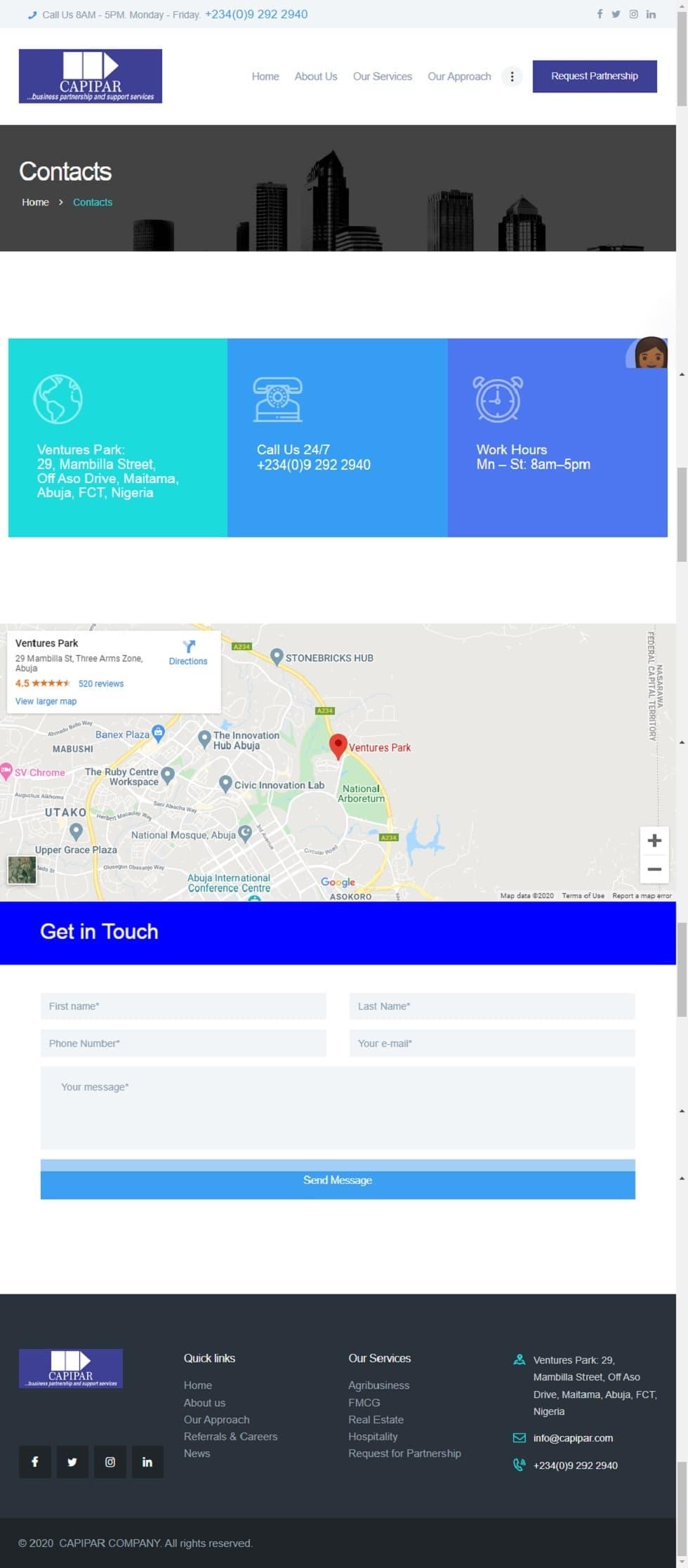 Capipar Nigeria website design