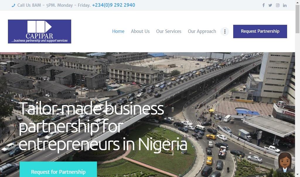 website design for Capipar nigeria